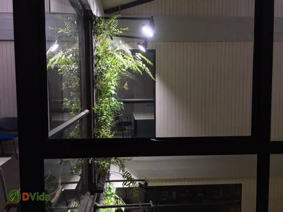 Vista segundo piso muros verdes CFT Teodoro Wickel Oficinas y bibliotecas de estilo rural de DVida Jardines verticales Rural
