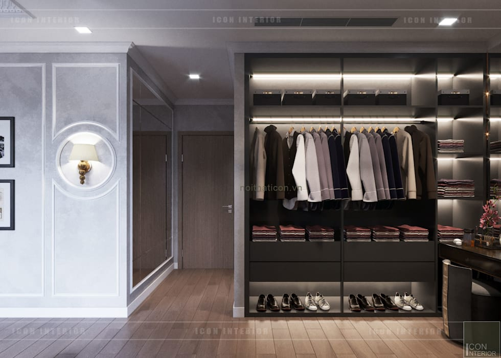 Thiết kế phong cách Đông Dương cùng sắc xanh độc đáo - Park Hill:  Phòng thay đồ by ICON INTERIOR