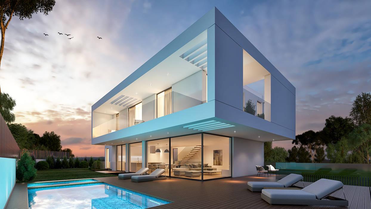 CASA RB1 - Moradia na Vila Utopia - Projeto de Arquitetura - exterior piscina Casas modernas por Traçado Regulador. Lda Moderno Pedra