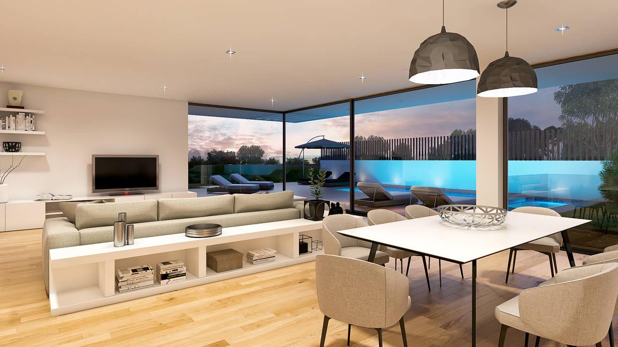 CASA RB1 - Moradia na Vila Utopia - Projeto de Arquitetura - sala piscina: Salas de estar  por Traçado Regulador. Lda,Moderno Madeira Acabamento em madeira