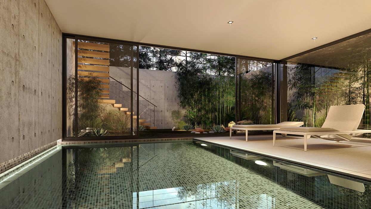 CASA SG2 - Moradia na Herdade da Aroeira - Projeto de Arquitetura - piscina interior cave: Piscinas  por Traçado Regulador. Lda,Moderno Betão