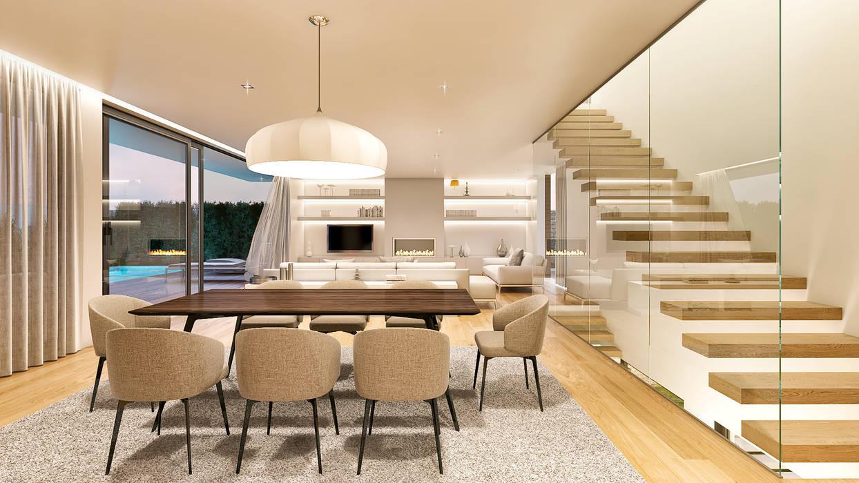 Modern dining room by Traçado Regulador. Lda Modern Wood Wood effect