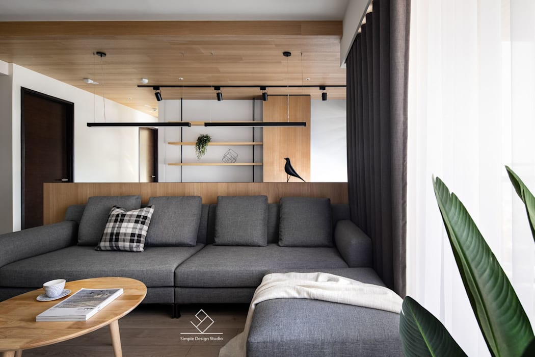 書房:  客廳 by 極簡室內設計 Simple Design Studio
