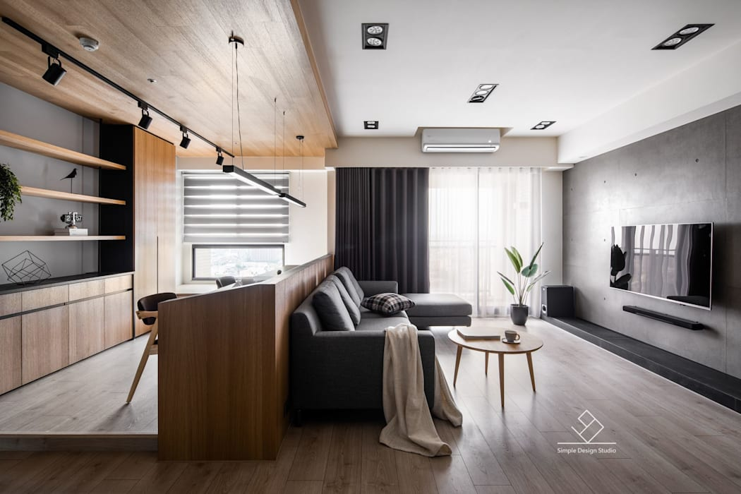書房/客廳:  客廳 by 極簡室內設計 Simple Design Studio