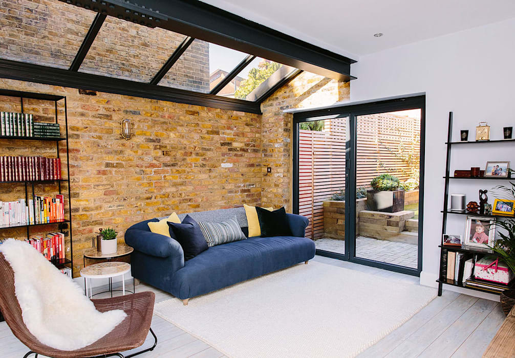 Modern Living Room:  Living room by Resi Architects in London, Modern Bricks