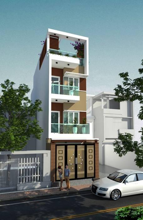 Mặt tiền nhà phố 3 tầng 1 tum với mặt tiền chưa đến 4m Công ty Thiết Kế Xây Dựng Song Phát Nhà gia đình