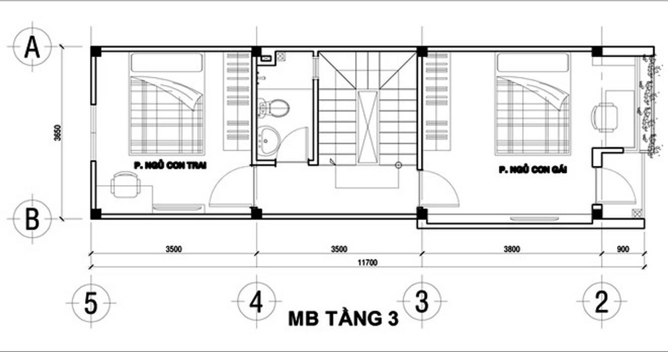 Bố trí mặt bằng tầng 3 bởi Công ty Thiết Kế Xây Dựng Song Phát Châu Á