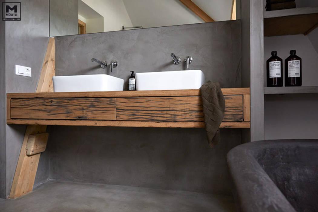 Badkamer Met Betonstuc : Badkamer betonstuc vrijstaand bad badkamer door molitli
