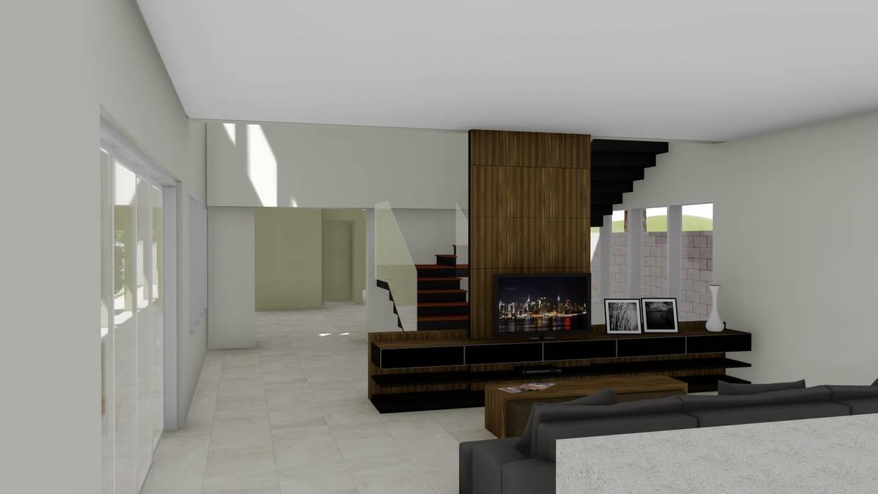 Vista Interna 1: Salas de estar  por Hamilton Turola Arquitetura e Design,Rústico