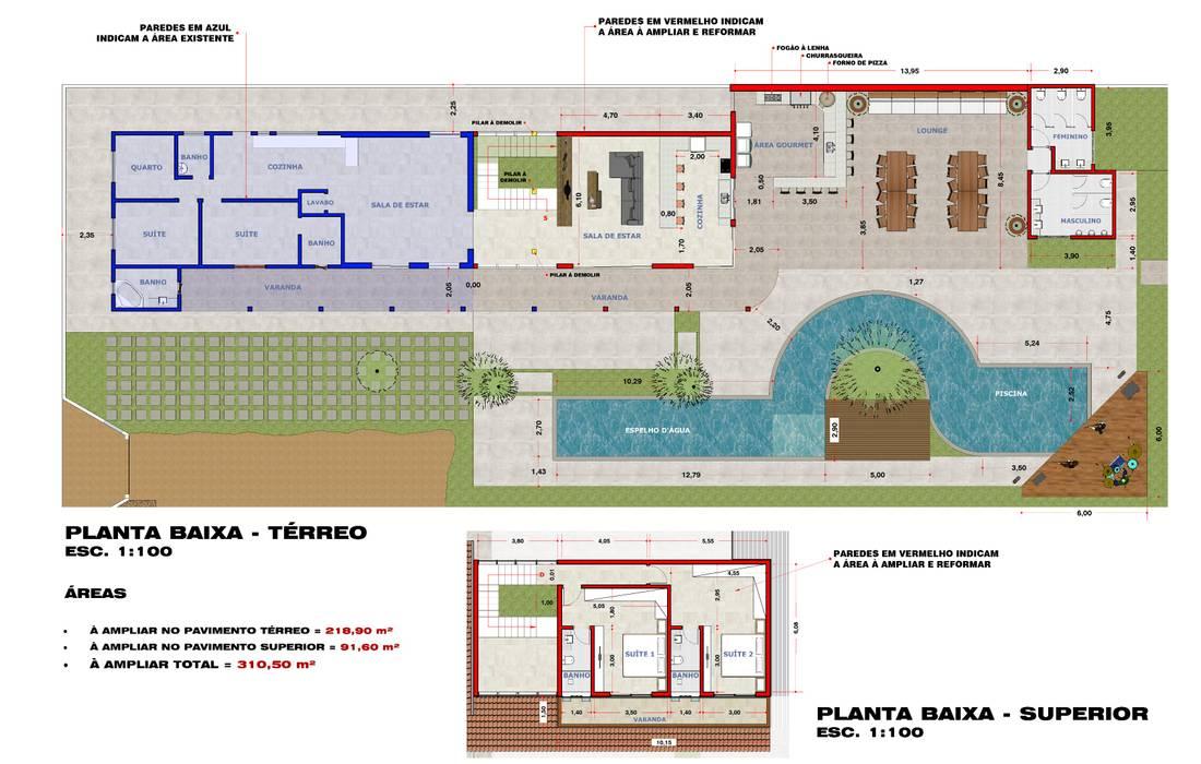 Plantas e Implntação: Pavimentos  por Hamilton Turola Arquitetura e Design,Rústico