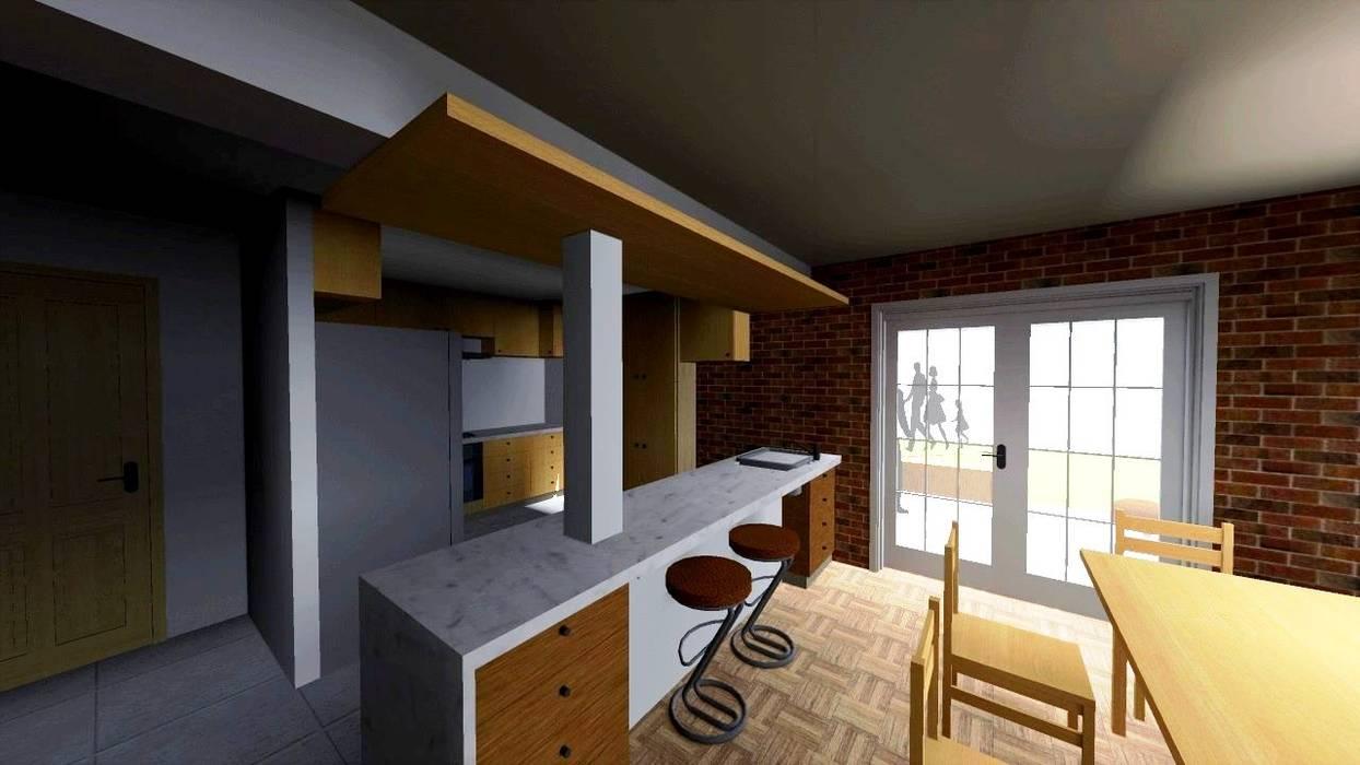 Remodelación de casa( cocina y terraza)  en Providencia, Santiago.-: Cocinas equipadas de estilo  por SoLazuL arquitectos