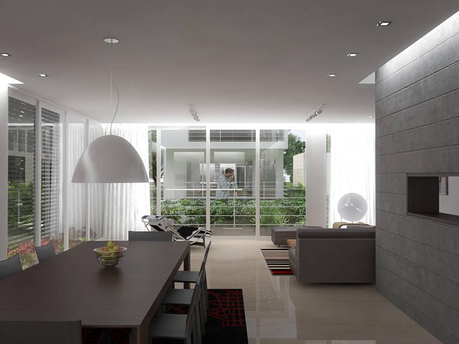5 Casas en Miami: Salas / recibidores de estilo  por RRA Arquitectura, Minimalista Madera Acabado en madera