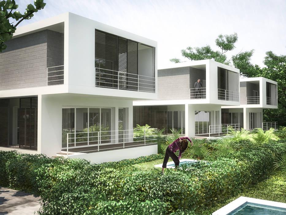 5 Casas en Miami: Jardines en la fachada de estilo  por RRA Arquitectura, Minimalista