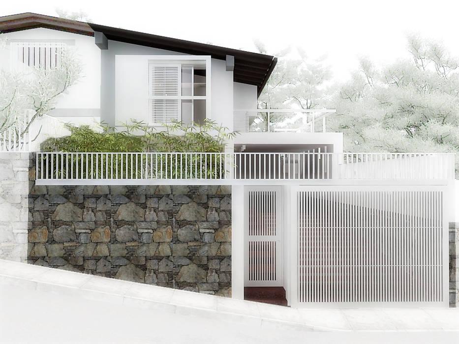 Lomas de Las Mercedes: Puertas de garajes de estilo  por RRA Arquitectura, Minimalista Piedra