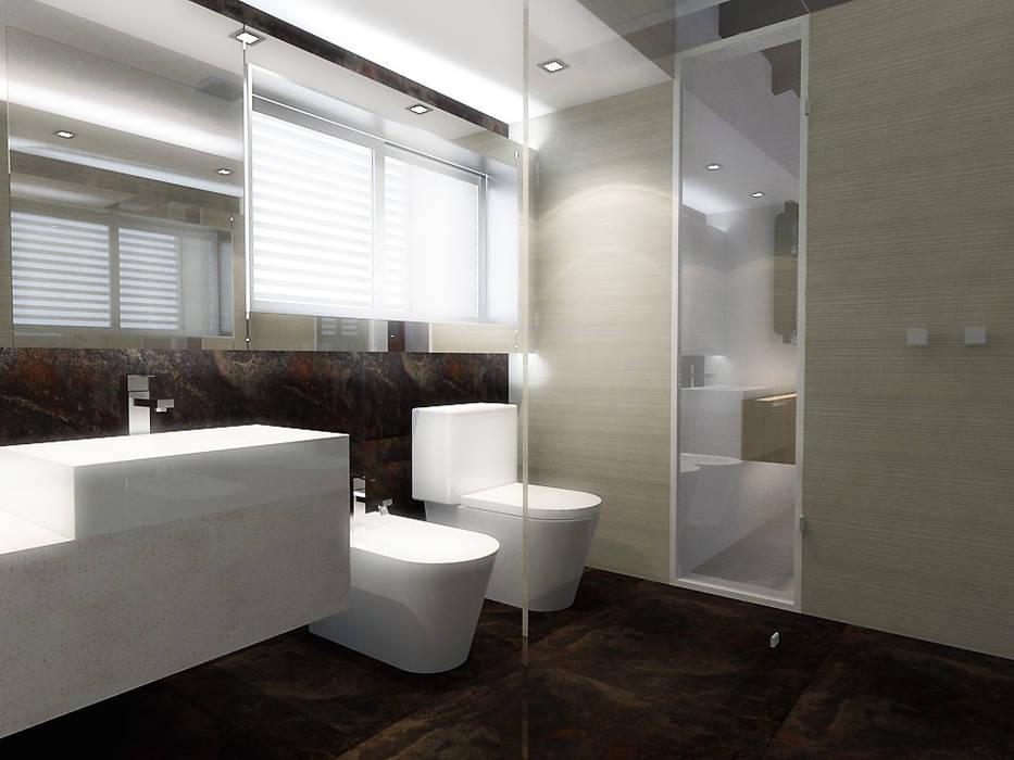 Lomas de Las Mercedes: Baños de estilo  por RRA Arquitectura, Minimalista Cerámico
