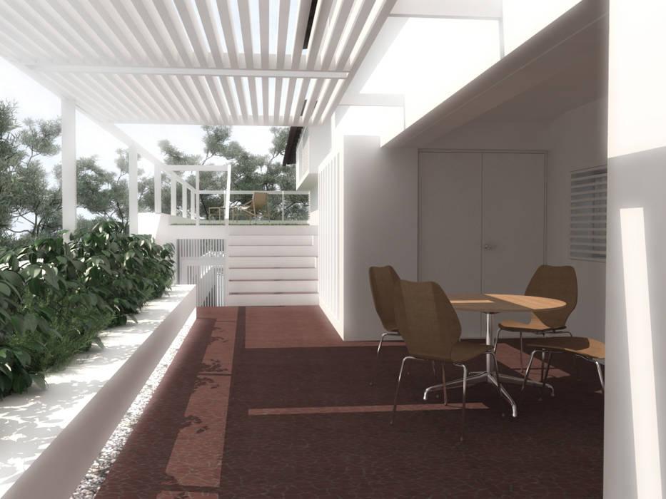 Lomas de Las Mercedes: Jardines en la fachada de estilo  por RRA Arquitectura,