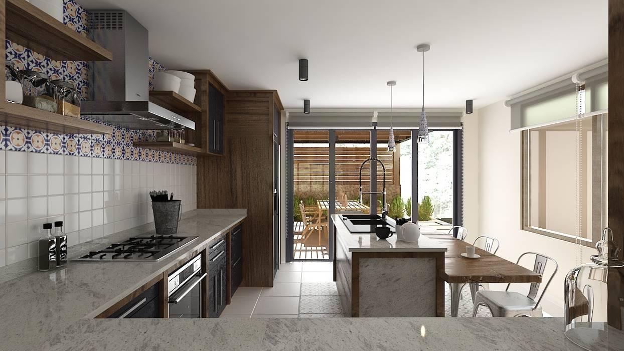 Casa Naranjos 32: Cocinas equipadas de estilo  por Diseño Integral México
