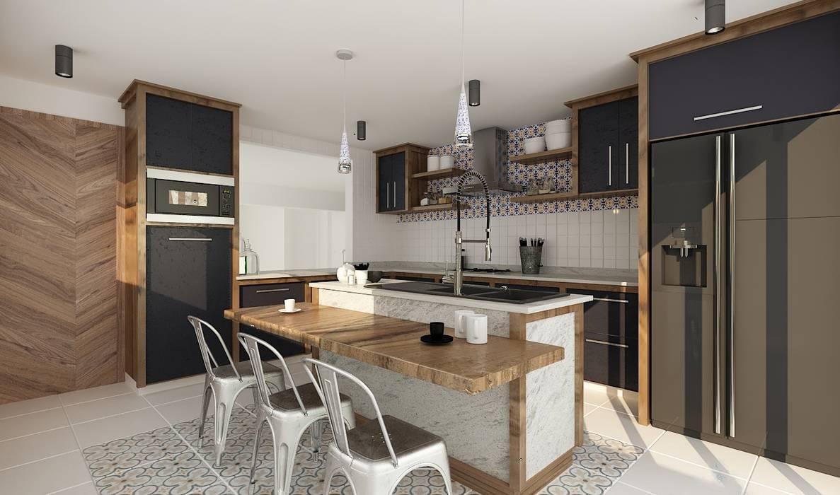 Casa Naranjos 32: Muebles de cocinas de estilo  por Soma & Croma, Ecléctico Madera maciza Multicolor