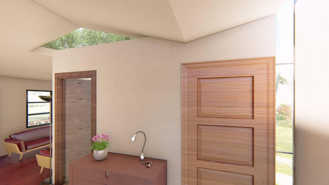 Hall distribuidor_ acceso BIM Urbano Pasillos, halls y escaleras minimalistas Tableros de virutas orientadas Multicolor