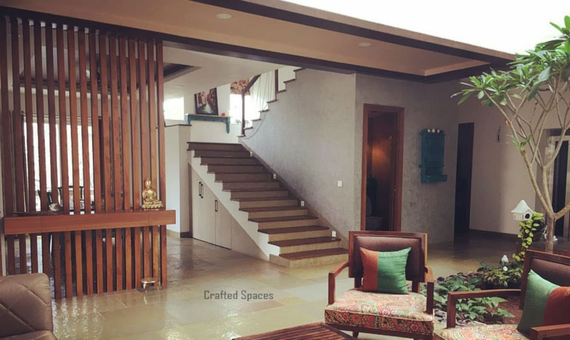 VILLA 46, EKTHA PRIME-GACHIBOWLI, HYDERABAD​:  Stairs by Crafted Spaces,Minimalist Wood Wood effect