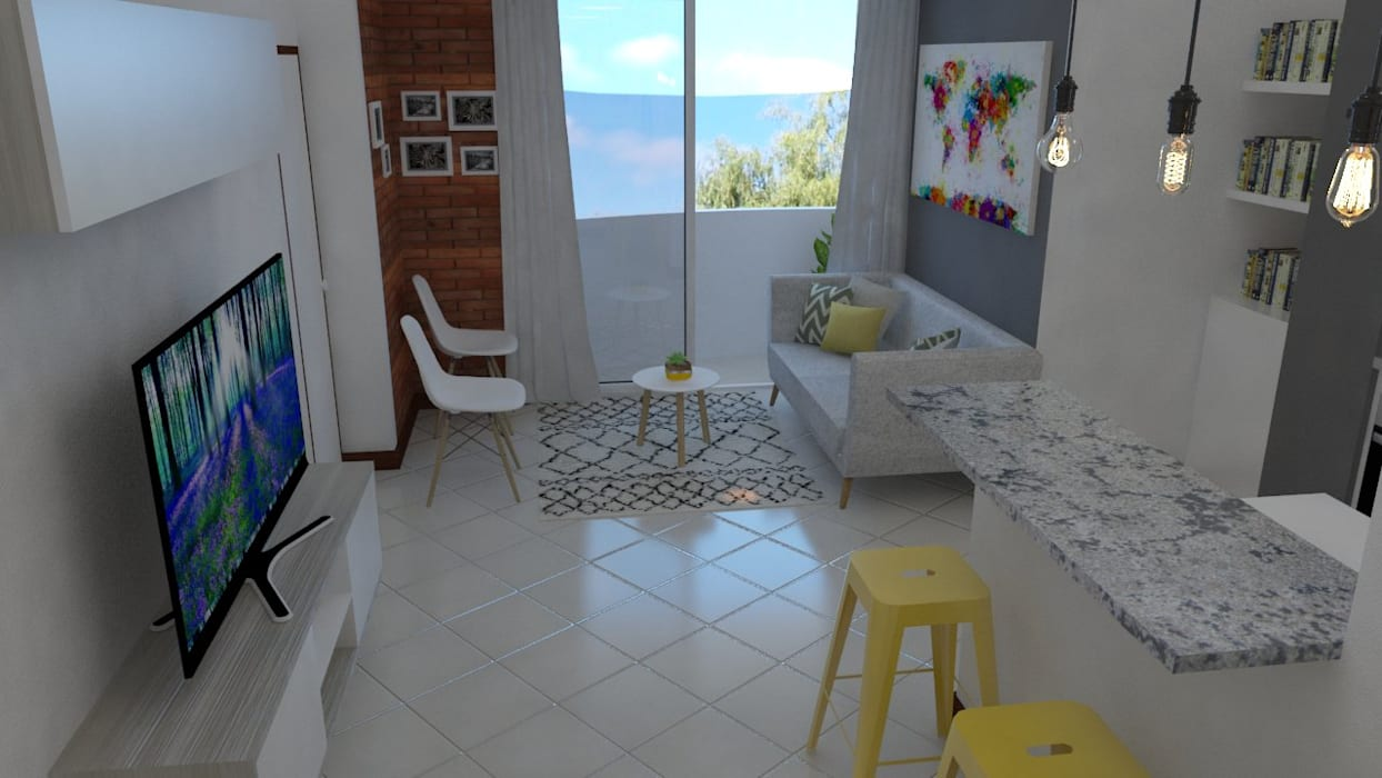salon principal Salas de estilo industrial de Naromi Design Industrial Hierro/Acero