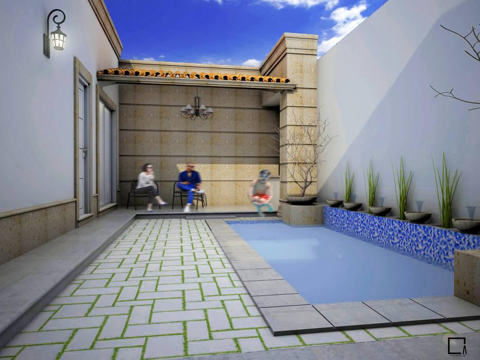 Patio casa OG Balcones y terrazas de estilo moderno de Osuna Arquitecto Moderno