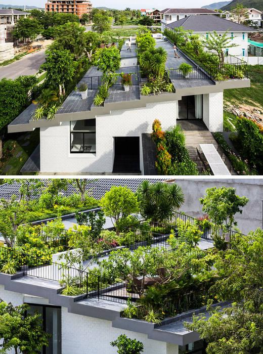 Trồng cây trên mái nhà là ý tưởng cũ nhưng không lỗi thời Hiên, sân thượng phong cách châu Á bởi Công ty Thiết Kế Xây Dựng Song Phát Châu Á