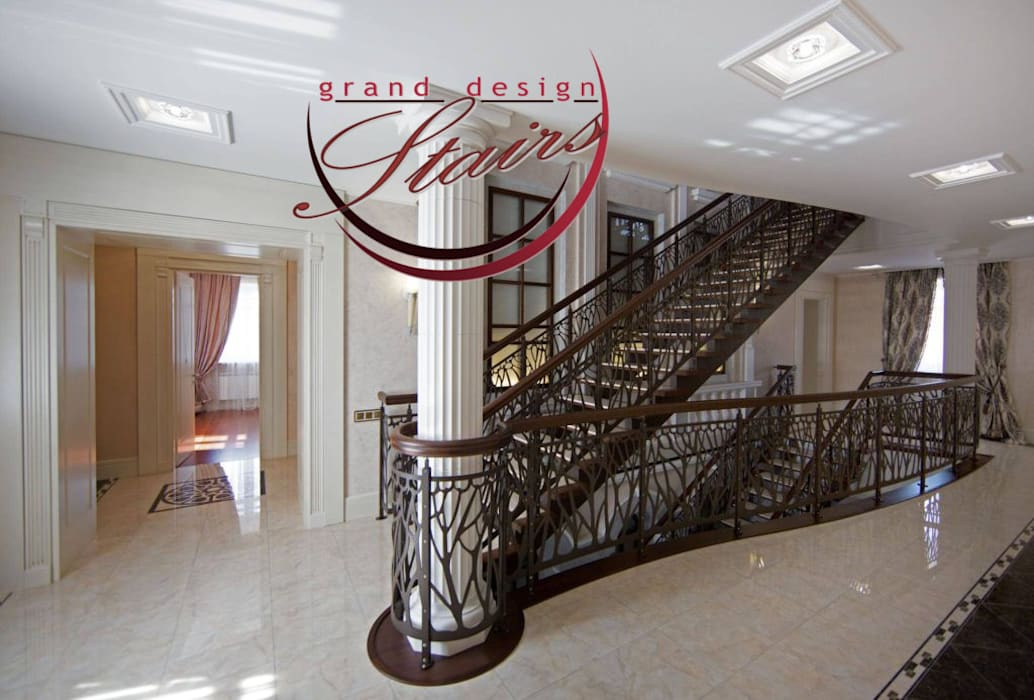 Steel and Marble multistory Staircase in Omsk Russia Grand Design Stairs Tangga