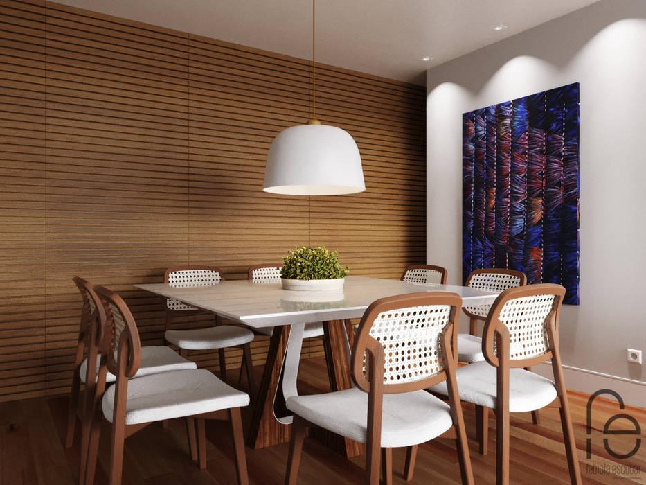 Opção sala de jantar independente - fechamento do painél: Salas de jantar  por Fabíola Escobar - Pratique Arquitetura