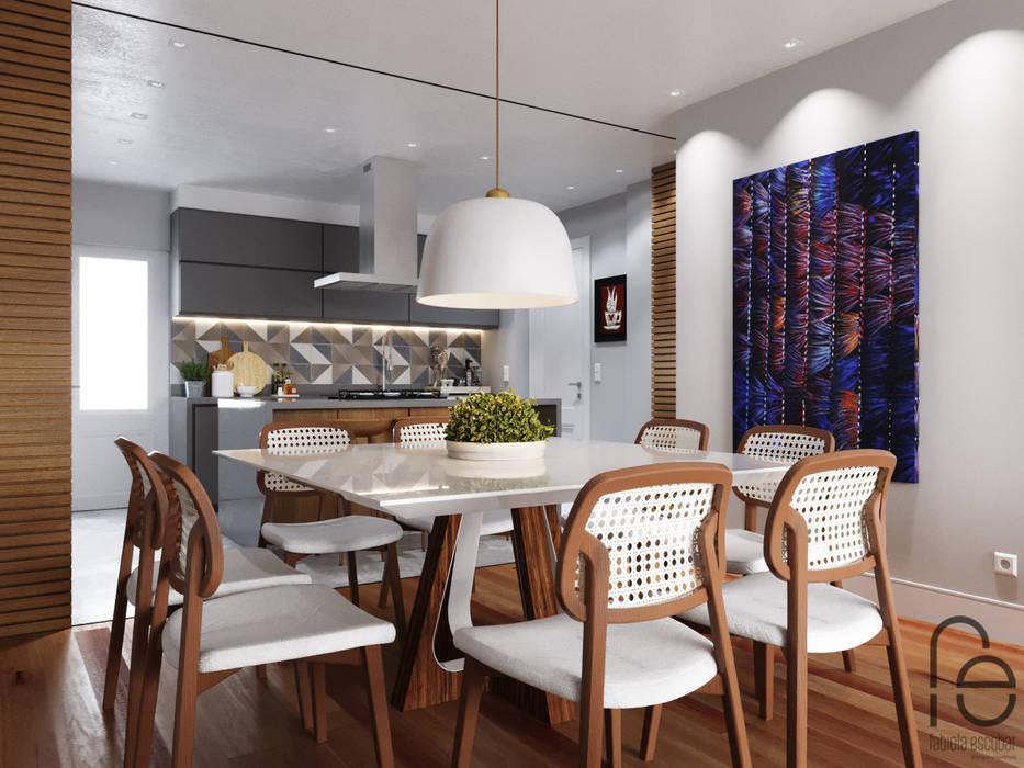 Sala de jantar integrada: Salas de jantar  por Fabíola Escobar - Pratique Arquitetura
