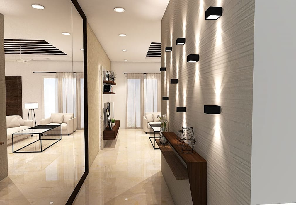 FOYER:  Corridor & hallway by K Square Architects