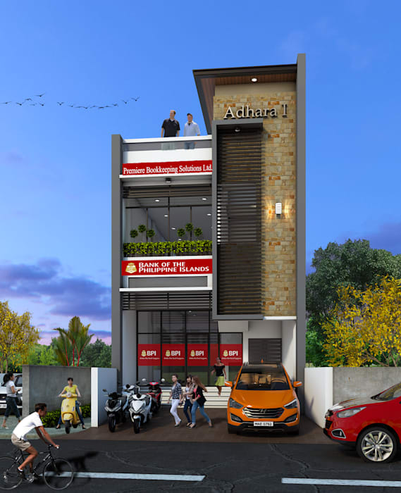 2-Storey with Penthouse Mixed-Use Building:  Commercial Spaces by CB.Arch Design Solutions