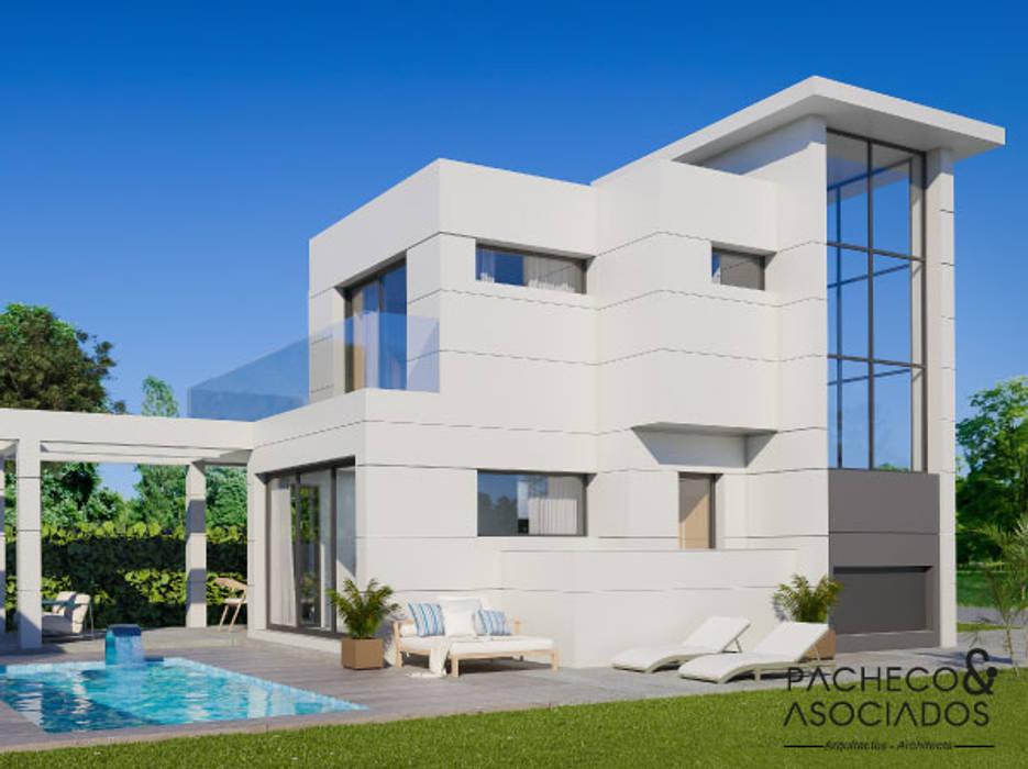 Villa en La Manga Club - Vista lateral y zonas exteriores Pacheco & Asociados Bodegas de estilo moderno Blanco