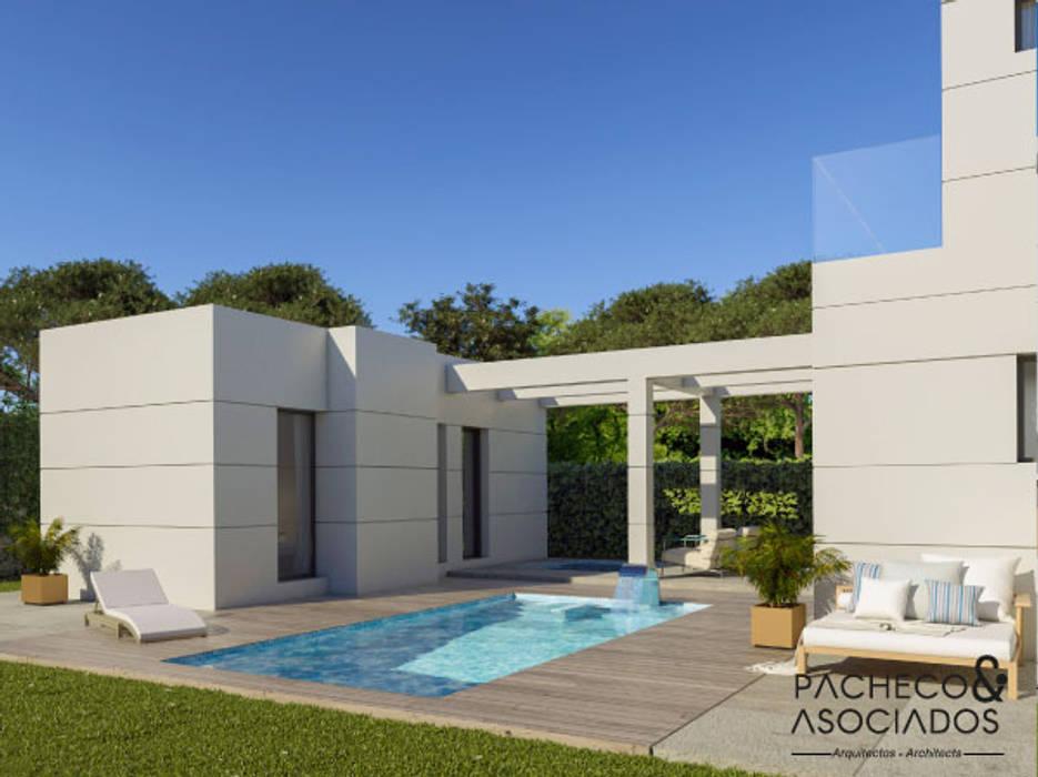 Villa en La Manga Club - Parte trasera y exteriores Pacheco & Asociados Casas unifamilares Blanco