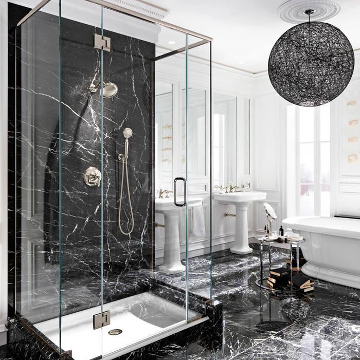 Bagno in marmo grigio Carnico: Bagno in stile  di Canalmarmi e Graniti snc