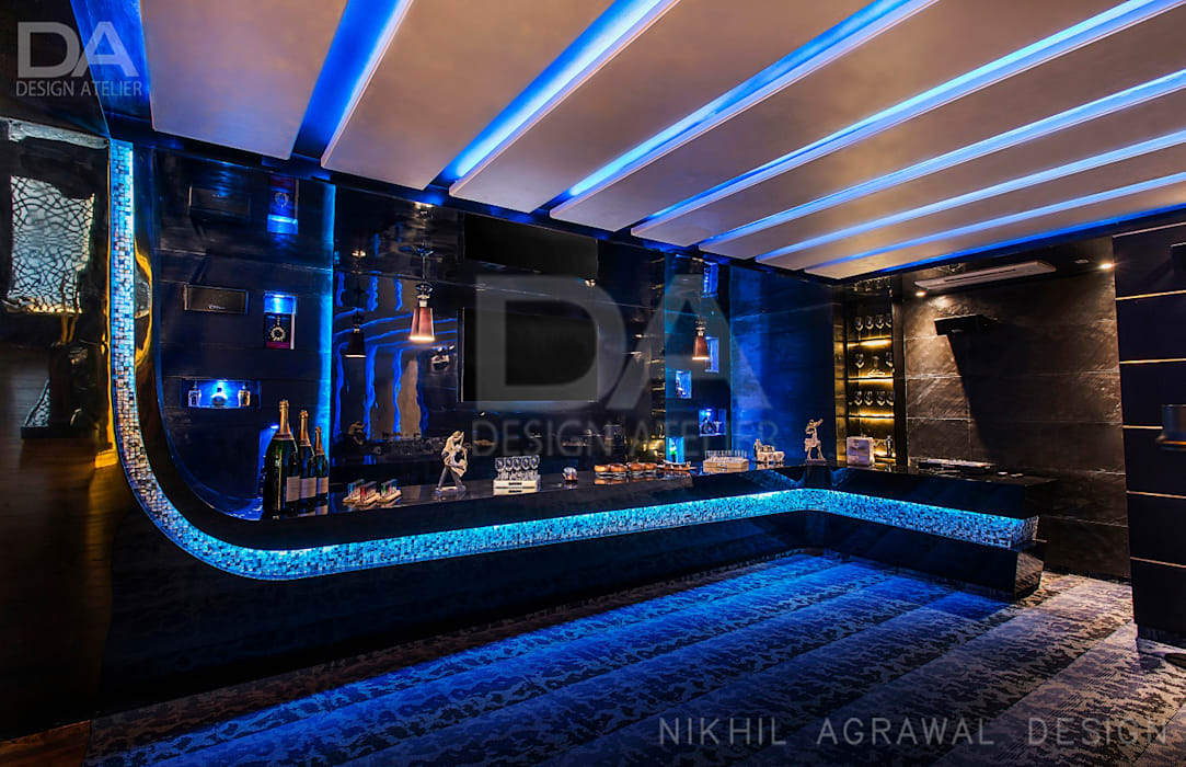 MDF Bar Counter with fully automated LED lights:  Floors by Design Atelier,