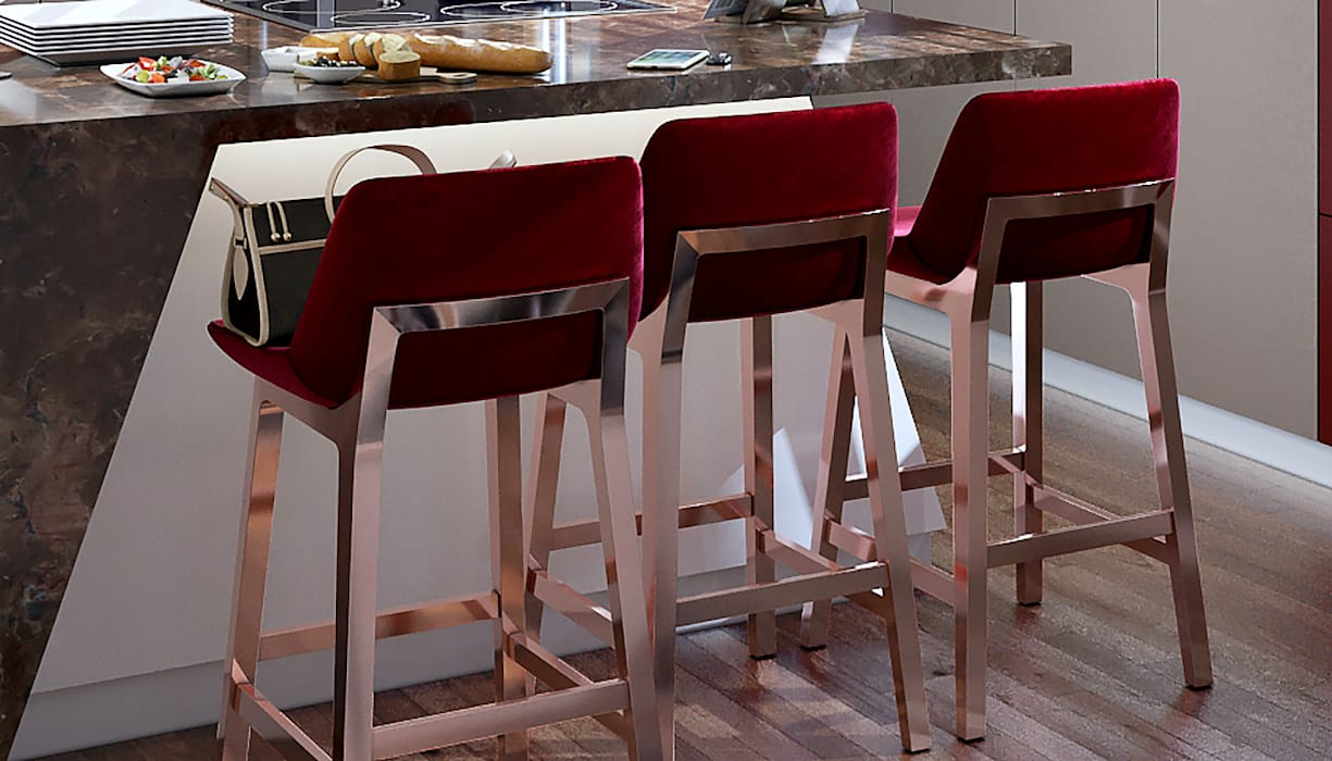 Burgundy Bar Stools:  Kitchen by Linken Designs ,