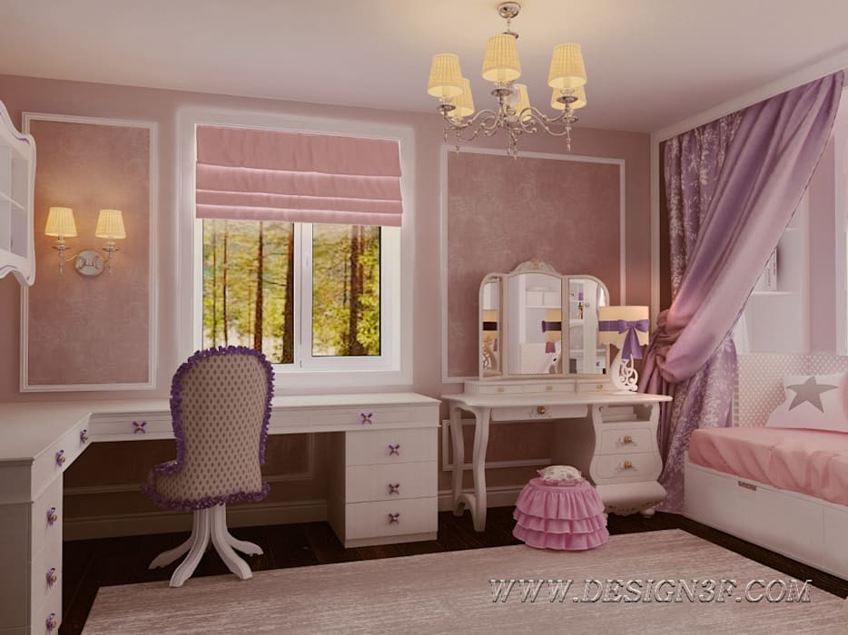 Интерьер детской для девочки: Детские комнаты в . Автор – студия Design3F, Классический
