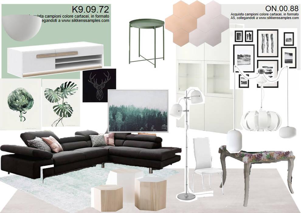 mood zona living: Soggiorno in stile in stile Moderno di SAMANTHA PASTRELLO INTERIOR DESIGN