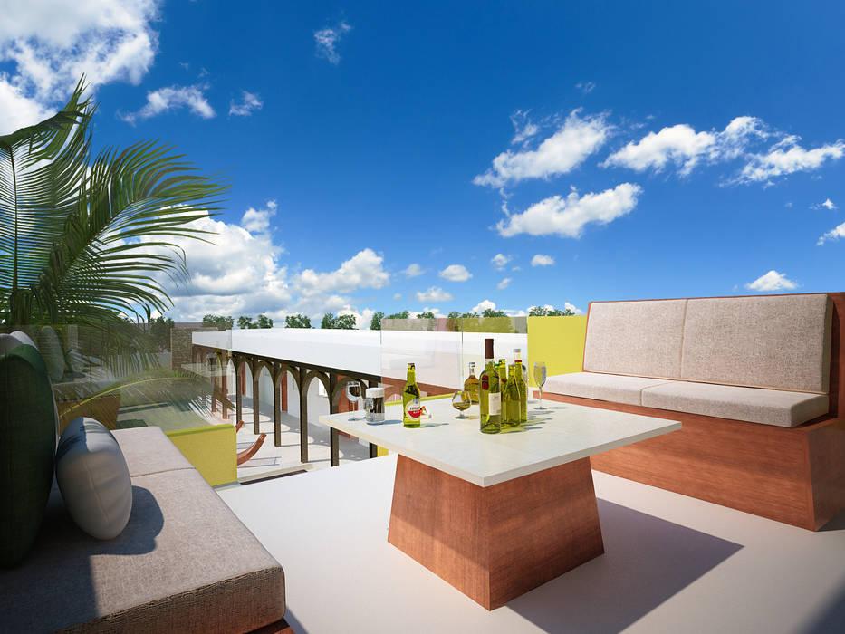Bar En Segundo Piso Balcones Y Terrazas Modernos De Pangea