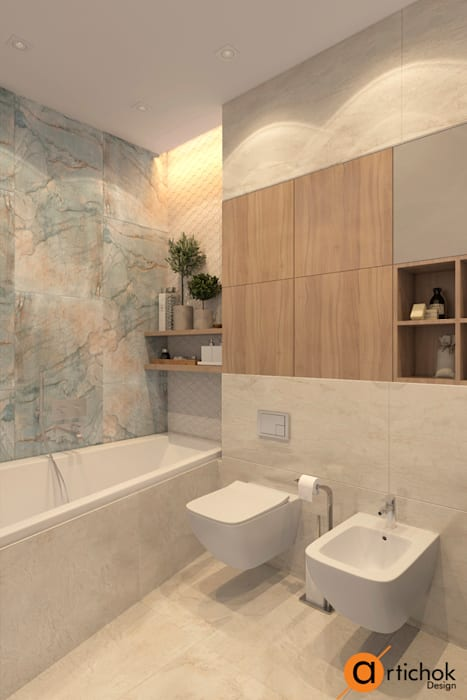 Minimalist style bathroom by Artichok Design Minimalist