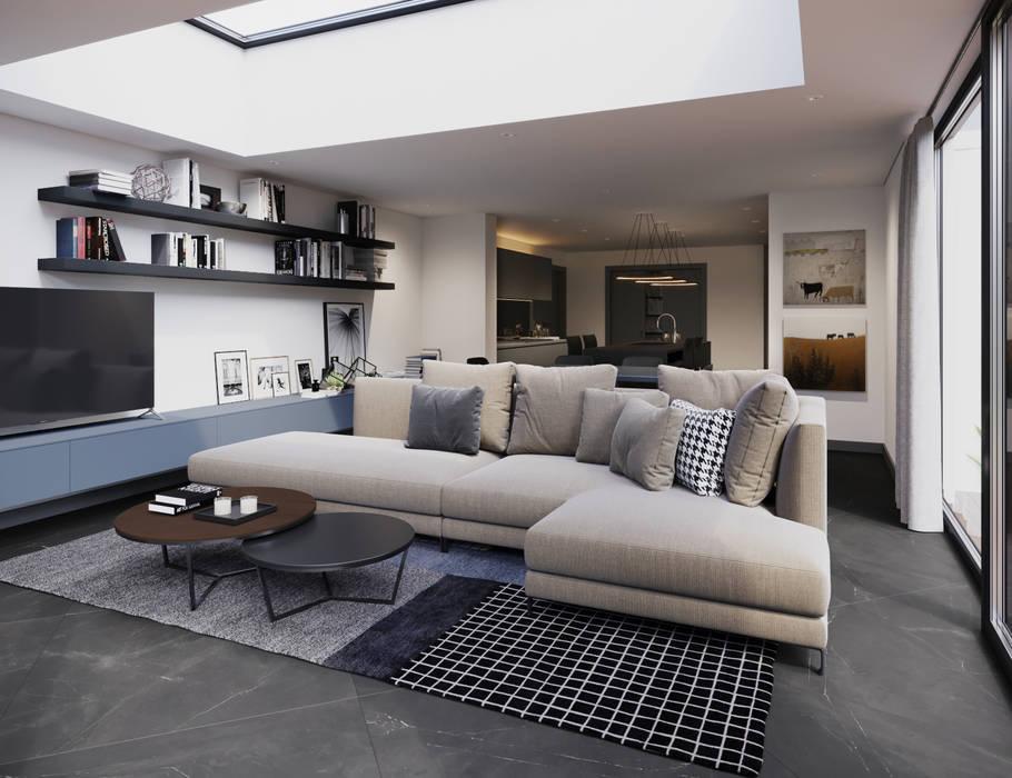 Family Room:  Living room by FALCHI INTERIORS LTD