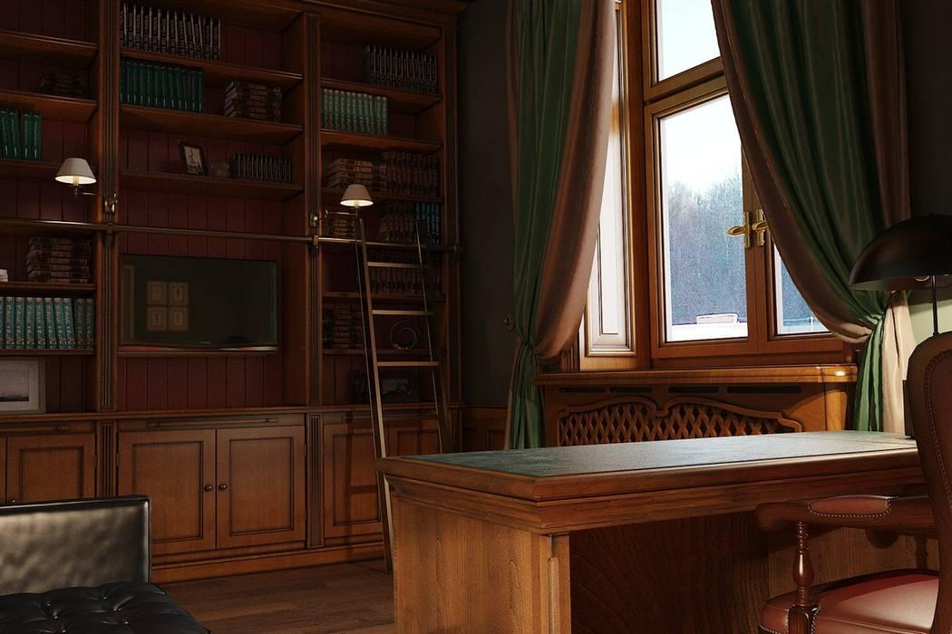 Ruang Studi/Kantor Klasik Oleh студия Design3F Klasik