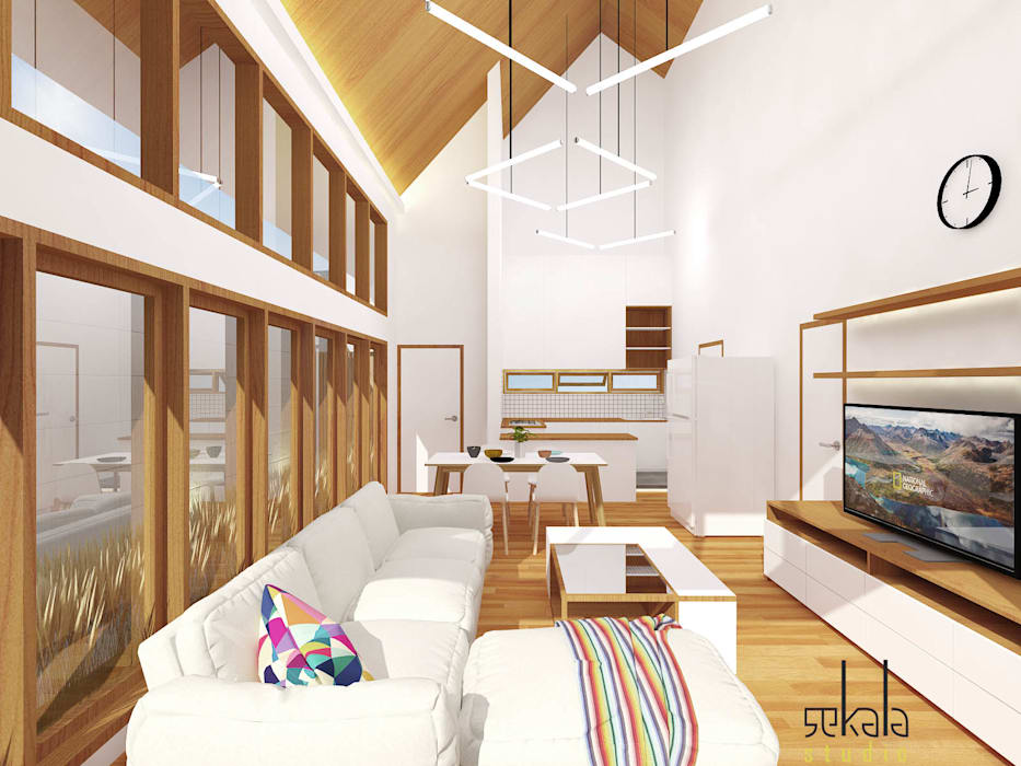 Rumah Ibu Siska Ruang Keluarga Modern Oleh SEKALA Studio Modern Kayu Wood effect