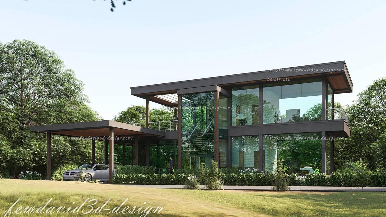 บ้านพักตากอากาศ 2ชั้น เขาใหญ่ นครราชสีมา:  บ้านเดี่ยว โดย fewdavid3d-design, โมเดิร์น