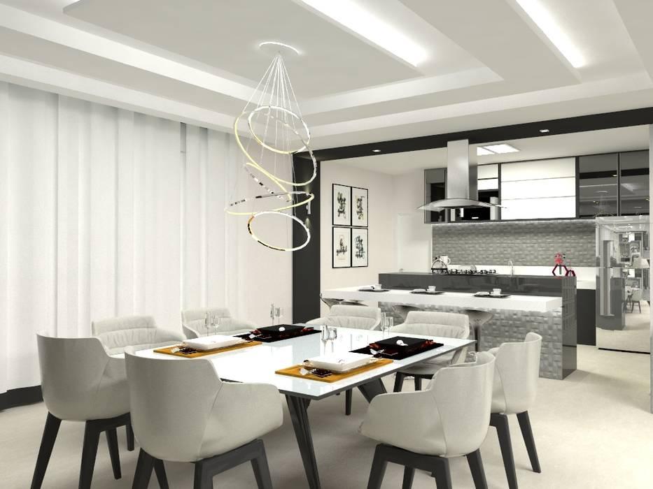 Sala de Jantar e Cozinha Salas de jantar modernas por Laene Carvalho Arquitetura e Interiores Moderno