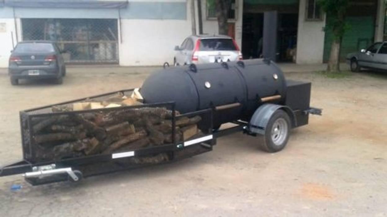 Asador de carne El Capitan Trailer de Smoke King Ahumadoras Rústico Hierro/Acero