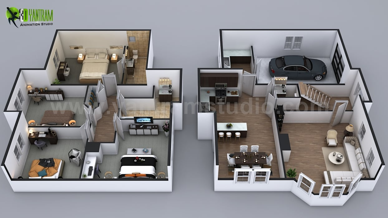 3d house floor plan by yantram architectural rendering studio san francisco usa by