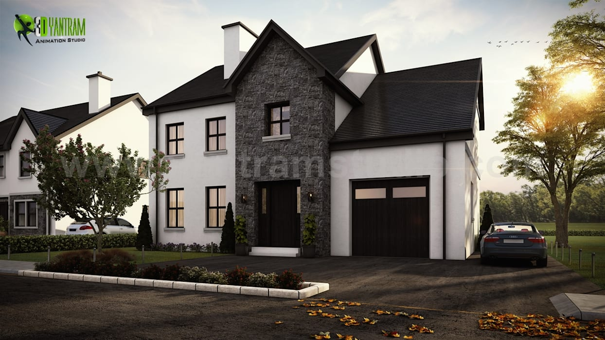 Modern small house exterior design by yantram architectural rendering studio san francisco usa