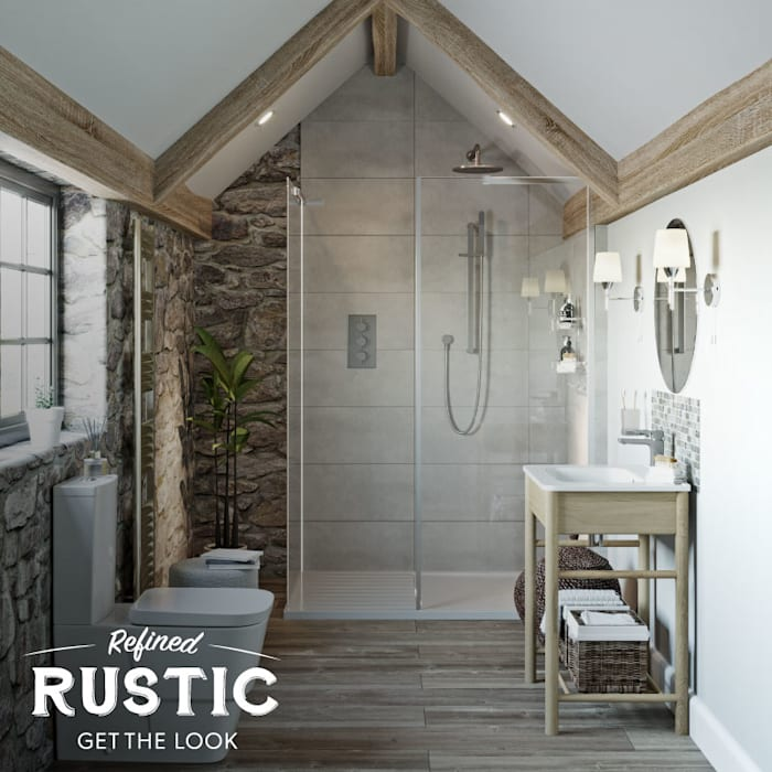 rustic small space shower: Bathroom by Victoria Plum